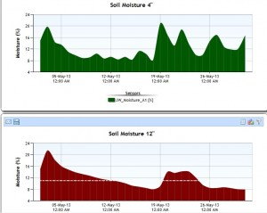 "Soil moisture trend graph showing volumetric water content at 4"" and 12"" depth"