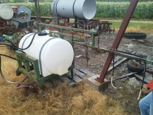 One farmer retrofitted a sprayer like this with drops and flood jet tips