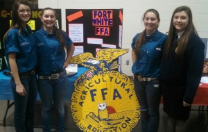 Fort White High School FFA members speak to students about the FFA Organization at the FWHS Showcase. FFA members pictured Left to Right; Tessa Coe, Colby Laidig, Makenzie Laidig, and Katyana Carr