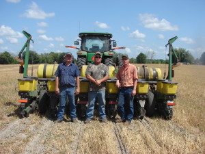 From left; Kimrod Stephenson, Keith Hurst, and Trent Pridgeon, each from Bell, planting a corn hybrid trial at Bar-D Ranch in Columbia City.