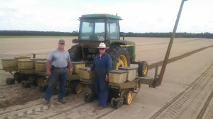 From left; William Terry and James Terry of Lake City, planting a peanut cultivar trial at I.C. Terry Farm.