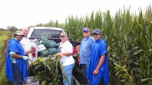 Dr. George Hochmuth, second from left, leads a team of scientists and technicians working to improve nutrient management practices used by corn growers.