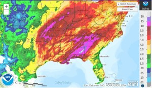 Total precipitation for 30 days proceeding January 13, 2016.