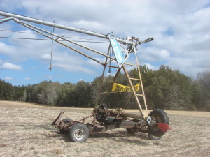 Buggy made from a car frame and chassis to move irrigation towers